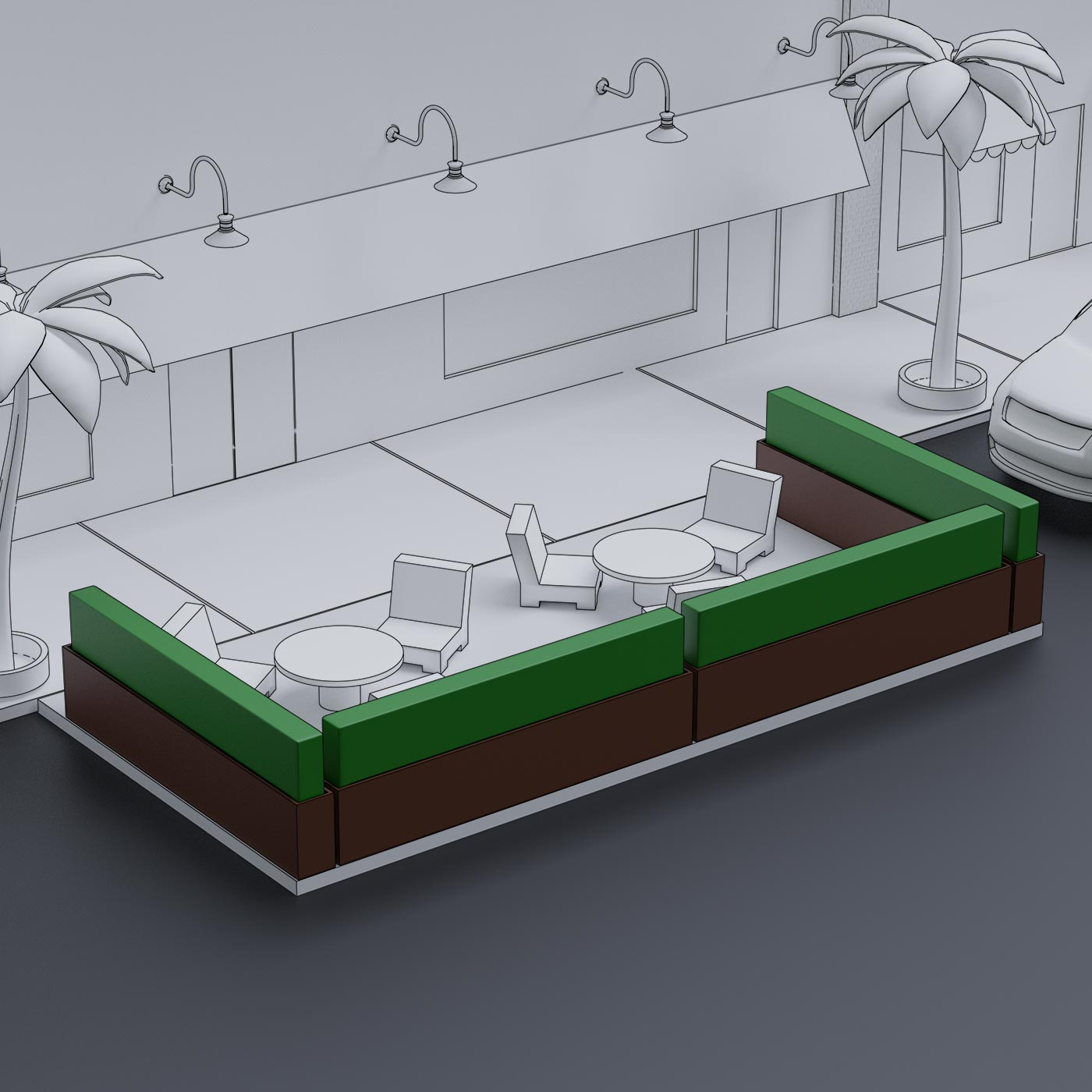 Outdoor Planter Dividers & Parklet Barriers