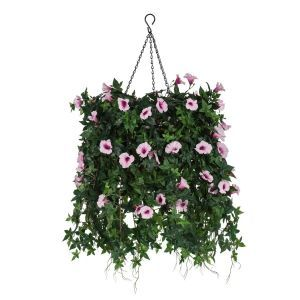 "12"" Hanging Basket with Artificial Morning Glory Flowers - 5 Colors"