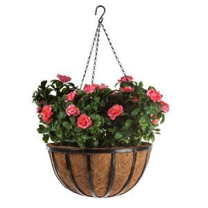 "14"" Hanging Basket with 4 Artificial Azalea Plants - 3 Colors"