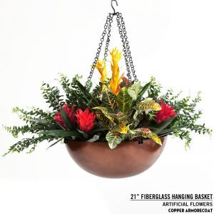 "21"" Copper Hanging Basket"