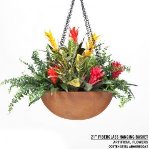 "21"" Rusted Corten Steel Hanging Basket"