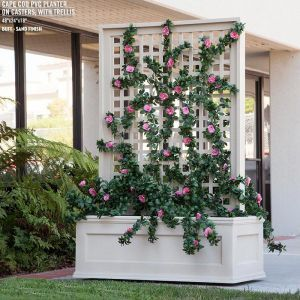 Rolling Trellis Space Divider w/ Outdoor Rated Vines 36inL x 12inW x 72inH