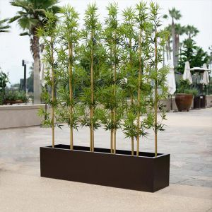 3'L Bamboo Outdoor Artificial Grove in Modern Fiberglass Planter