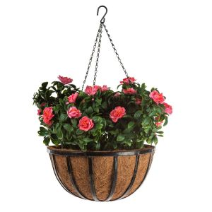 "16"" Hanging Basket with 6 Artificial Azalea Plants - 3 Colors"