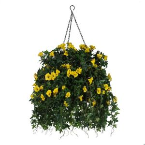 "16"" Hanging Basket with Artificial Morning Glory Flowers - 4 Colors"