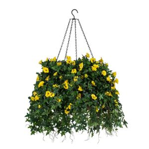 """22"""" Hanging Basket with Artificial Morning Glory Flowers - 5 Colors"""