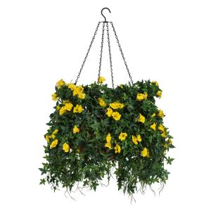 "18"" Hanging Basket with Artificial Morning Glory Flowers - 4 Colors"