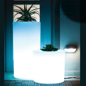 "18""Dia x 35""H Canaletto Illuminated Cylindrical Planter"