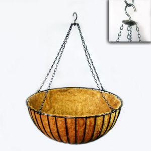 "30in. XL ""Mega"" Hanging Flower Basket, Commercial Strength - includes Coconut Coir Liner & Heavy Duty Swivel Hook"