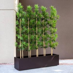 Bamboo Grove Privacy Screen in Modern Fiberglass Planter, Outdoor Rated