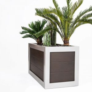Brown planter with steel trim