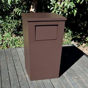 Modern Tapered Square Fiberglass Trash Receptacle with Flap and Lid - 24in.Sq. x 42in.H
