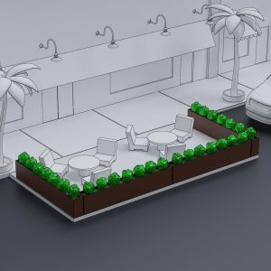Social Distancing Parking Space Café Barrier - Artificial Shrubs in Modern Fiberglass Planters