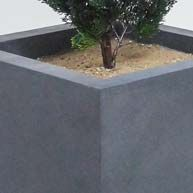 Durable cast stone planters and site amenities